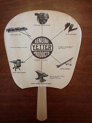 1958 Vintage Paper Handheld Advertising Fan - Genuine Yetter Products