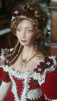 Dollhouse Miniature Artisan Terri Davis OOAK Porcelain Doll Red Velvet Gown 1:12