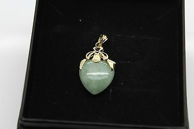BRAND NEW Gold Jade Pendant Solid 14ct Chinese Heart