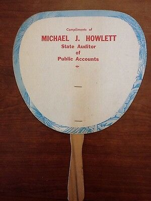 Vintage Paper Handheld Political Advertising Fan- Michael J Howlett