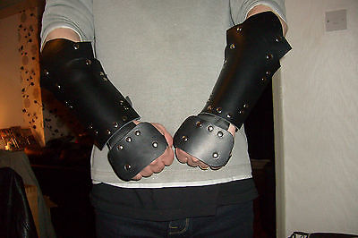 Rigid Leather Arm Guards  Vambraces Larp Re-Enactment Black Brown Red Purple
