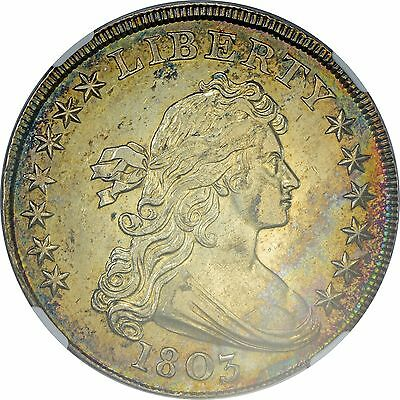 1803 Draped Bust $1 BB-255 B-6 NGC Certified AU 58 Toned Early US Silver Dollar