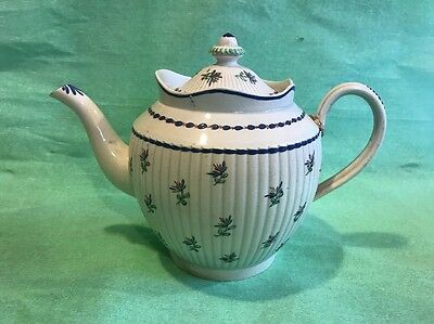 A Rare 18th Century English Pearlware Pottery Ribbed Teapot And Cover