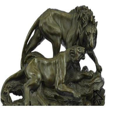 Bronze Sculpture Large 30 Lbs Male And Female African Lion King Jungle Sculptur