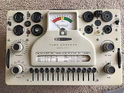VINTAGE HEATHKIT TUBE CHECKER MODEL #IT-17  works but as-is!