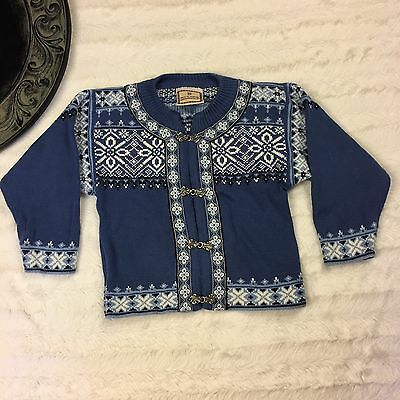 Dale Of Norway Kids Unisex Blue Pewter Clip Wool Sweater Size 2 Nordic Fair Isle