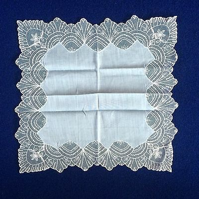 VTG White Lace on Blue Handkerchief Hankie Wedding