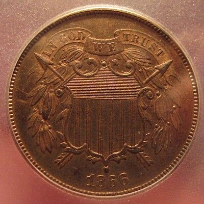 1866 Two Cent Piece Igc Proof 65 Red Brown Only 600 Minted