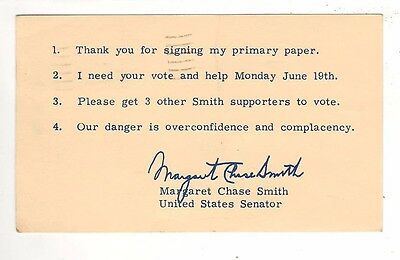 1972 – Thank You Postal Card From Senator Margaret Chase Smith