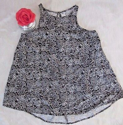 Old Navy Floral Size S Women Sleeveless Blouse Tank Black and White Floral Print