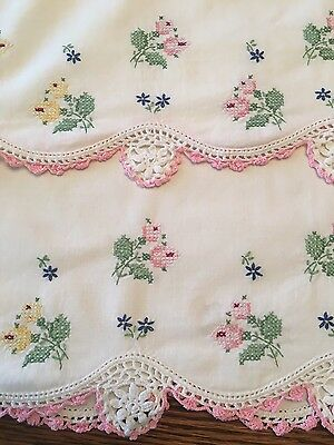 """2 Vintage Hand Embroidered """"Cross Stitched Flowers"""" With Crocheted Edge"""
