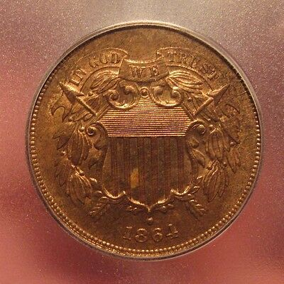 1864 Two Cent Piece Igc Ms 62 Red Brown