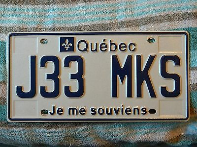 2010's Quebec license plate J33 MKS in excellent condition