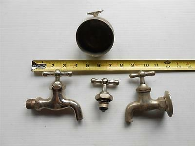 Vintage Nickel Plated Brass Water Faucet Spigot Cup Holder Plumbing Parts Usa