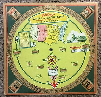 Vintage 1931 Kellogg's Wheel Of Knowledge About United States