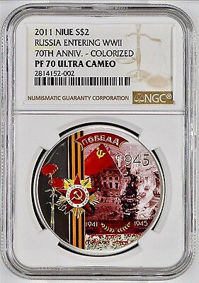 2011 NIUE S$2 1oz RUSSIA ENTERING WWII 70TH ANNIV NGC PF 70 UC POP OF 5 W/ OGP