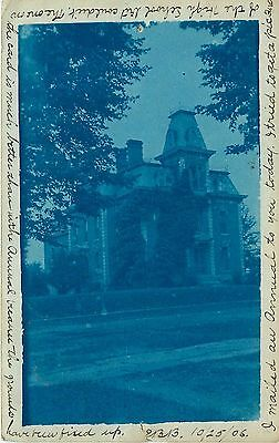 1906 Cyanotype Postcard Victorian Mansion Postmarked Mount Gilead OH Morrow Co.