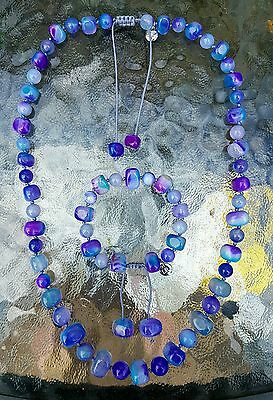 New!Lola Rose Ashling necklace and mimi bracelet set,in aqua purple agate,QVC