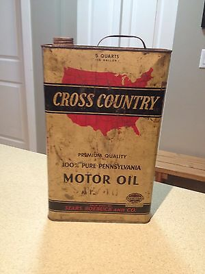 Cross Country 5 Quart Square Oil Can Vintage  collectible 1930's Rare