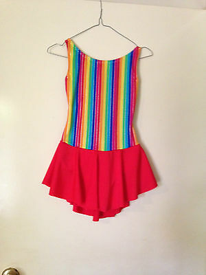 Ice Skating Costume -  Rainbow Multy Strip & Red Lycra Leotard - Child 9/10  New