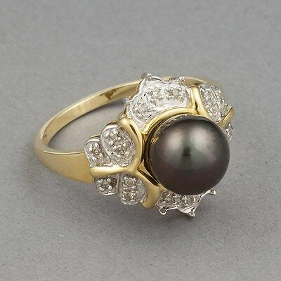 Sz 10 Ring Tahitian Pearl Diamond 14K Yellow Solid Gold Natural Estate Jewelry