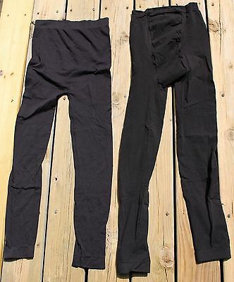 2 Pair of Black Nylon Spandex Maternity Leggings Size M/L Stretchy w Belly Panel