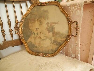 Beautiflul Antique Vanity Display Tray with BARBOLA ROSES and Victorian Print