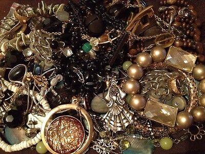 Vntg-Mod Junk Drawer Jewelry/misc Lot Craft Repair Repurpose Beads Parts Etc.
