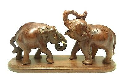 Hand Carved Wooden African Elephant Figurine