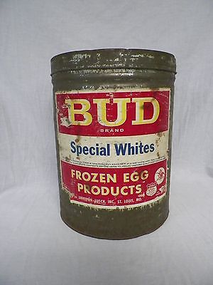 Vtg BUD Brand Special Whites Frozen Egg Products Tin Budweiser Anheuser Busch 30
