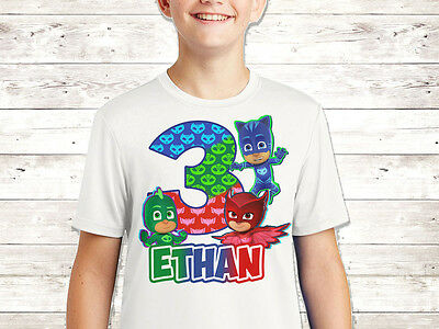 Pj masks Birthday Shirt Custom Name and Age Party Kid Tshirt