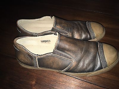 New Fossil Mens Shoes Size 8.5 Brown Leather Slip On