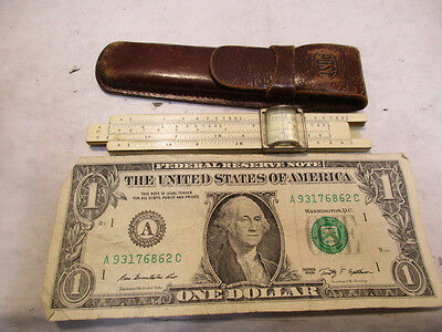 vintage Post Sun Hemmi 1441 Bamboo Slide Rule w Leather Case Made Occupied Japan