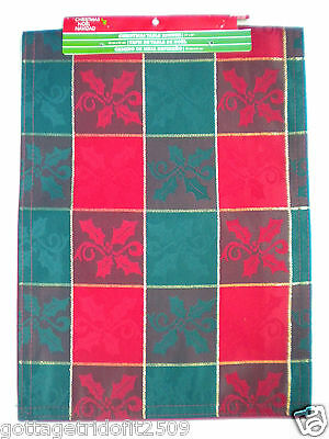 """RED, GREEN & GOLD LINED CHRISTMAS TABLE RUNNER ~ 13"""" x 36"""""""
