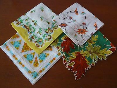 LOT 4 Vintage Ladies Hankies Handkerchiefs All with Pretty Printed Florals