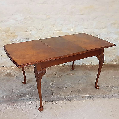 Queen Anne Style Burr Walnut Extending Dining Table (Antique)