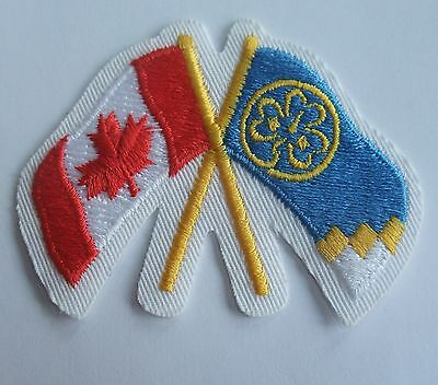 Girl Guides of Canada Badge Patch Canadian and Girl Guide Flags Crossed