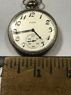 14k YG Filled Elgin Pocket Watch With Chain Runs Perfect
