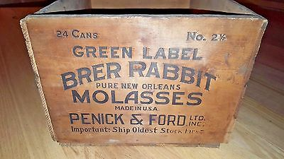 Antique Brer Rabbit Molasses Wood Crate Box  New Orleans Penick & Ford