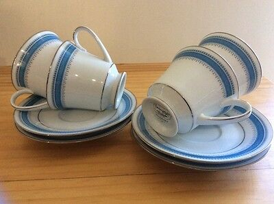 2 X Tea Coffee Cups Saucers Noritake Pembroke 2892 Never Used Blue White China