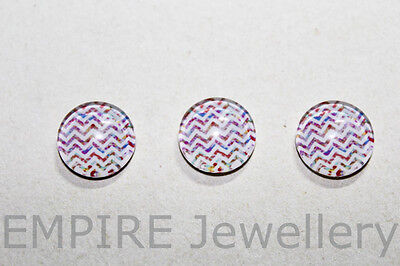 2 x Lovely Multicolour Chevron Pattern #6 12x12mm Glass Dome Cabochon