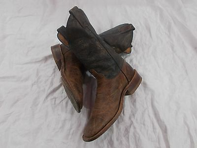 JUSTIN BROWN GOLD Mens Crackled Leather Cowboy Boots Square Toe SZ 7 D