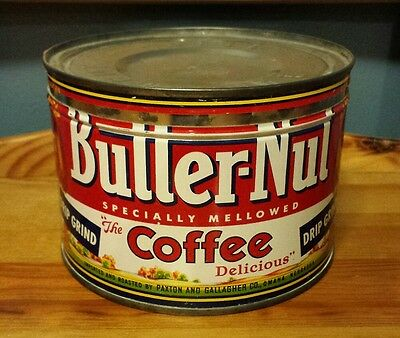 VTG Butter-Nut Coffee 1 LB Keywind Tin Can Paxton & Gallagher Co. Omaha, NE