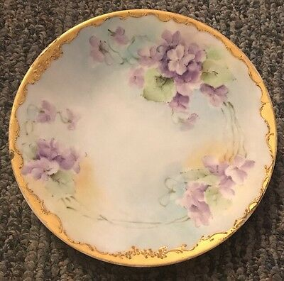 Antique Limoges Plate Violets Gold Edge Hand Painted France