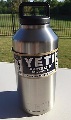 YETI 64 oz Rambler Tumbler Cup with Lid Stainless Steel Silver!! Free Shipping!
