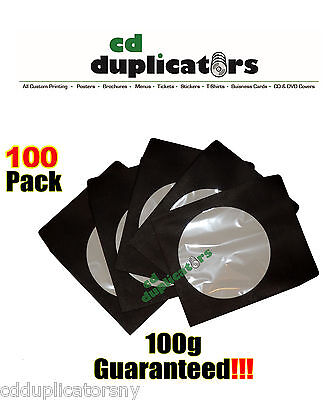 100 Black CD DVD Paper Sleeves 100g Premium Quality W/ Window & Flap