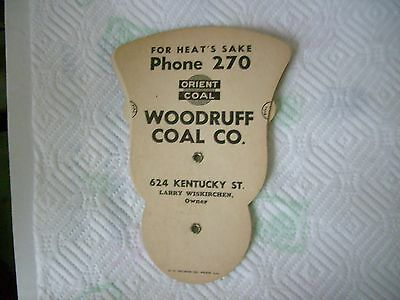 Vintage Cardboard Advertising Fan From Woodruff Coal Co Quincy, Illinois Mining