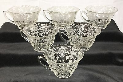 "6 Cambridge APPLE BLOSSOM CRYSTAL* 2 1/2"" COFFEE CUPS* #3400/54*"