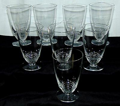 "8 Duncan & Miller TEAR DROP CRYSTAL *4""- 4 1/2 oz FOOTED JUICE TUMBLERS*"
