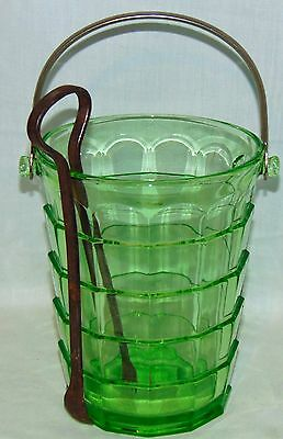 "Indiana TEA ROOM GREEN* 6 1/2"" ICE BUCKET w/METAL HANDLE & TONGS*"